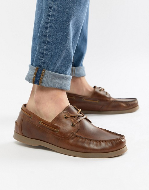 ASOS DESIGN boat shoes in tan leather with gum sole | AS