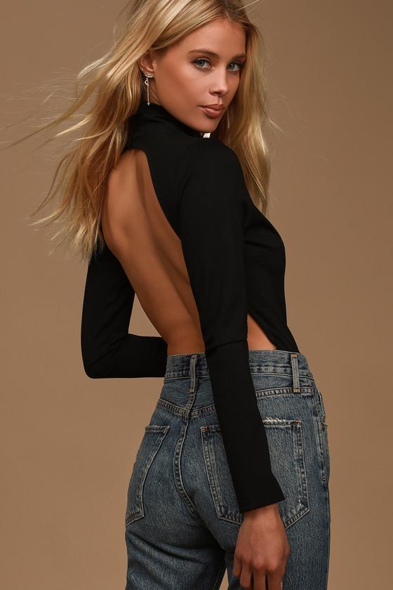 Chic Black Bodysuit - Mock Neck Bodysuit - Backless Bodysu