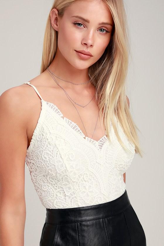 Sexy White Bodysuit - Lace Bodysuit - Crochet Lace Bodysui