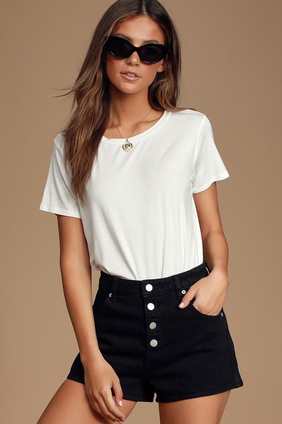 Cute White T-Shirt - T-Shirt Bodysuit - Tee Bodysu
