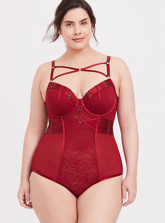 Plus Size - Red Lace & Mesh Strappy Cutout Back Underwire Bodysuit .