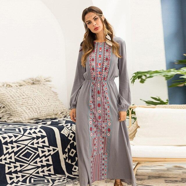 Khale Yose 2019 Autumn Maxi Dress Long Sleeve Floral Print .
