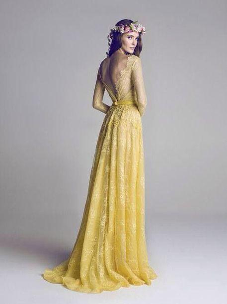dress, yellow lace, bohemian dress, long dress, yellow dress .