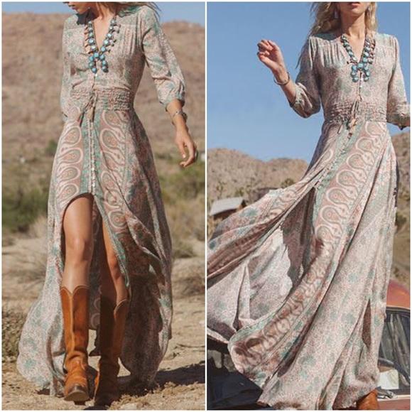 Boutique Dresses | Long Sheer Bronze Detail Bohemian Dress | Poshma