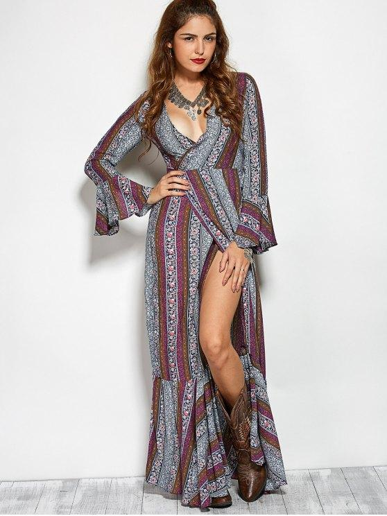 30% OFF] 2020 Printed High Slit Crossover Ruffle Bohemian Dress In .