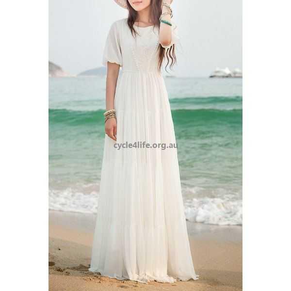 Buy Bohemian Jewel Neck Short Sleeves Maxi Dress For Women - White .
