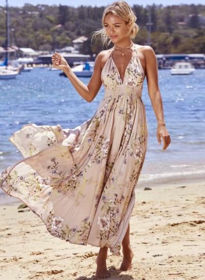 V Neck Sleeveless Backless Floral Printed Maxi Bohemian Dress .