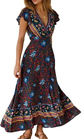 Women Bohemian Dresses Summer Beach Floral Short Sleeve Split Wrap .