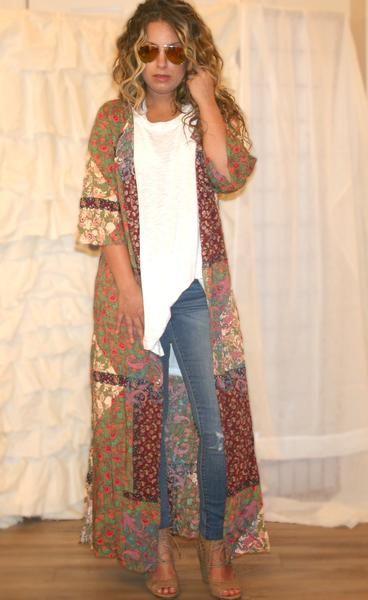 Shira Bohemian Patchwork Duster, boho outfits, bohemian fashion .