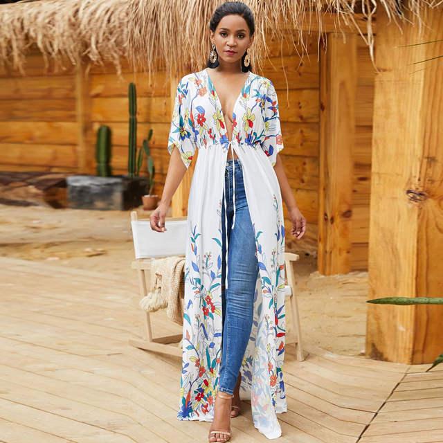 Elegant Bohemian Long Maxi Dress Beach Sarongs Hippie Boho .