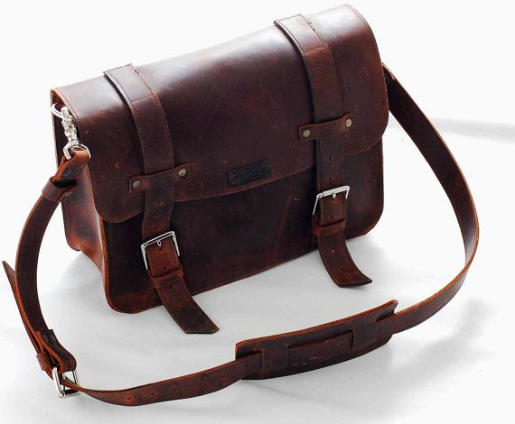 Leather book bag or messenger bag for men ann by sizzlestrapz .