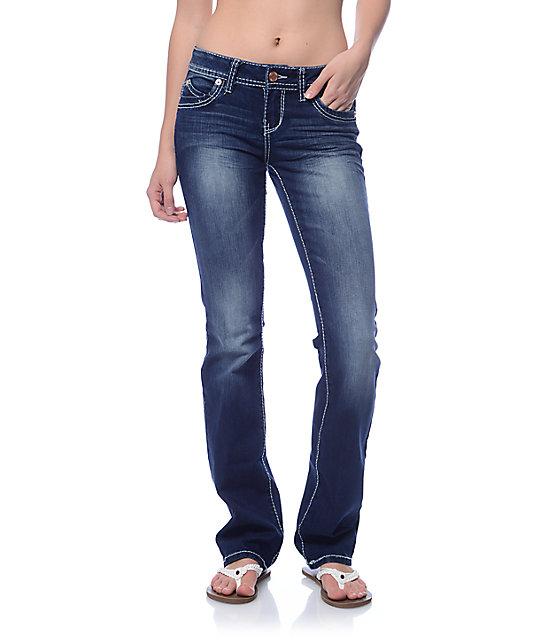 YMI WannaBettaButt Dark Blue Heavy Stitch Boot Cut Jeans | Zumi
