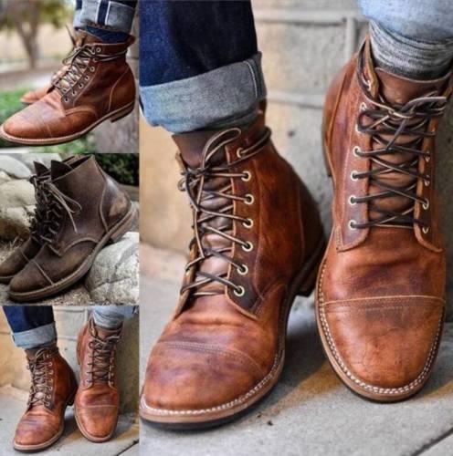 Men's Lace Up Boots Motorcycle Punk Combat Milita