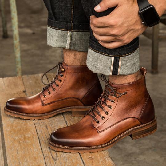 Handmade Men Fashion Brown ankle leather boots, Men designer .