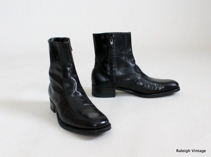 Vintage 1960s MENS Boots : 60s 70s MOD Black Ankle Boots Florsheim .
