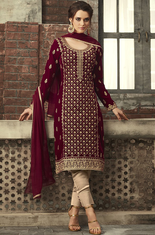 Maroon Designer Heavy Embroidered Velvet Pant Suit in 2020 | Kurti .