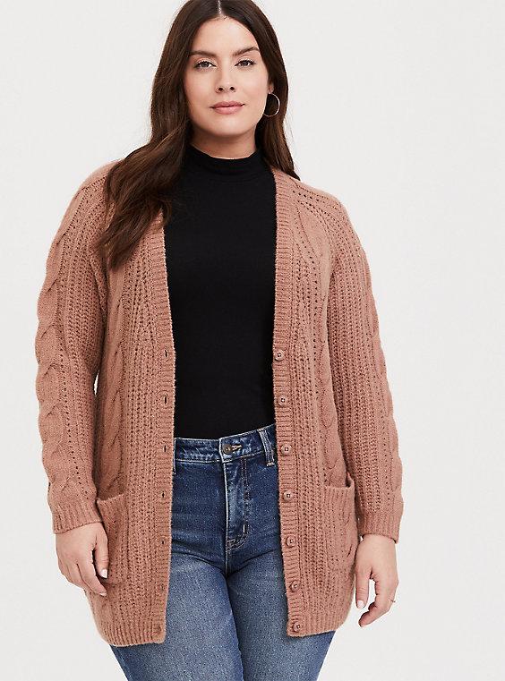 Plus Size - Taupe Cable Knit Button Front Boyfriend Cardigan - Torr