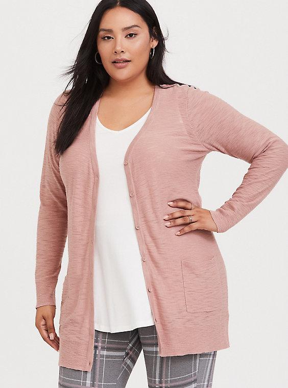 Plus Size - Blush Pink Slub Boyfriend Cardigan - Torr