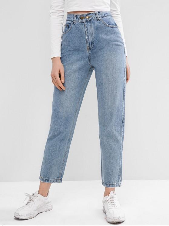 43% OFF] 2020 Zipper Fly Pocket Boyfriend Jeans In DENIM BLUE .