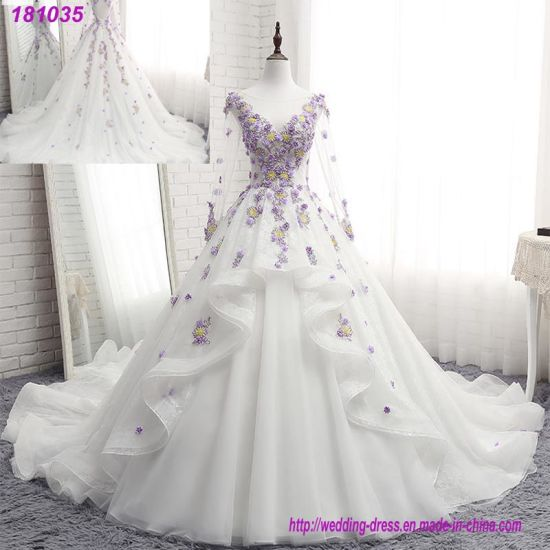 China Purple Lace Floral Bridal Gowns Flowers Puffy Wedding Dress .