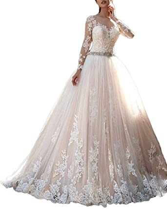 Thrsaeyi Women's 2019 Lace Wedding Dresses Bridal Gowns Long .