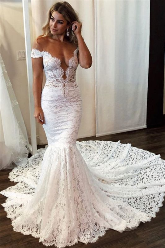 Latest Lace Off The Shoulder Sexy Wedding Dresses | Mermaid .