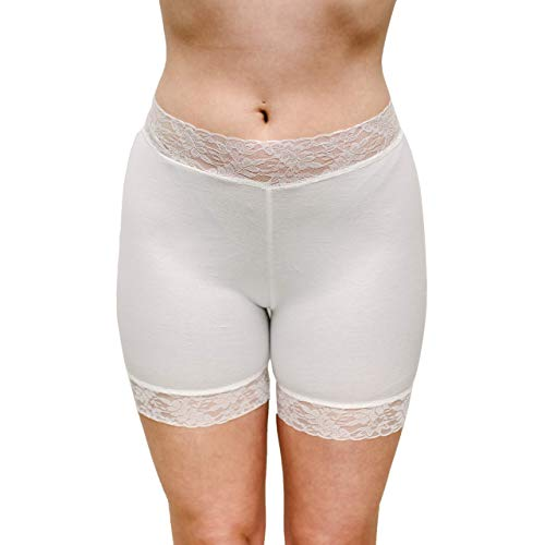 Amazon.com: Off White Lace Bridal Underwear Soft Cotton Bikers .