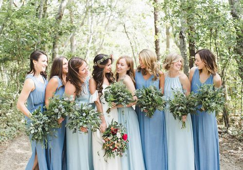 Mismatched Bridesmaid Dresses from Real Weddin