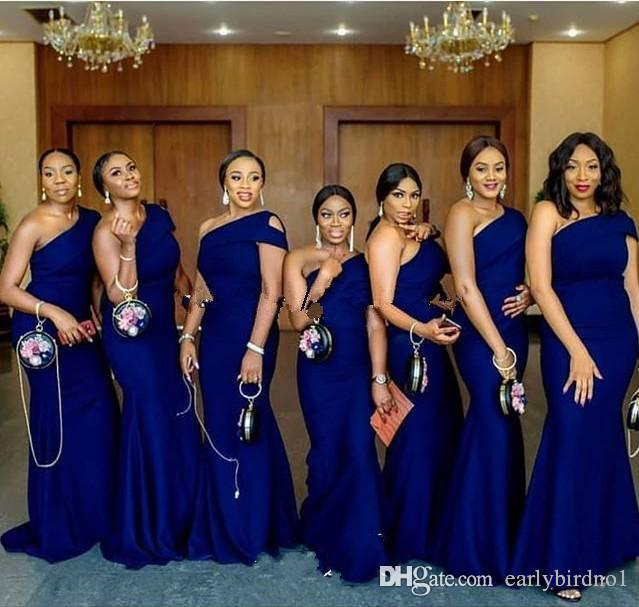 2020 Royal Blue One Shoulder Mermaid Bridesmaid Dresses Sweep .