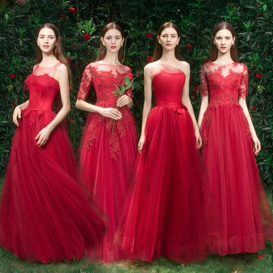 Elegant Red Bridesmaid Dresses 2019 A-Line / Princess Appliques .
