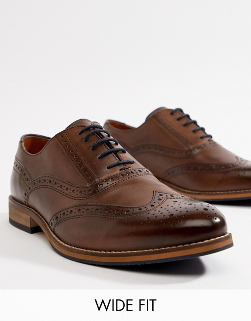 ASOS DESIGN Wide Fit brogue shoes in brown leather with natural .