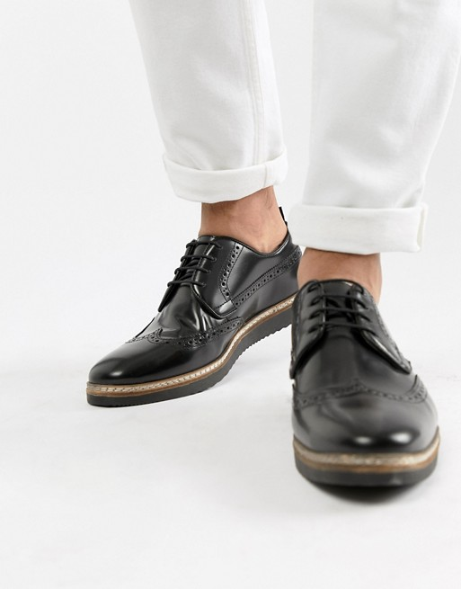 ASOS DESIGN brogue shoes in black leather with wedge sole   AS