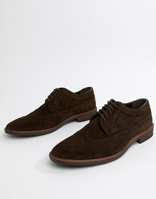 ASOS DESIGN brogue shoes in brown suede with natural sole   AS