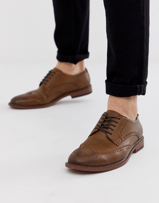 ASOS DESIGN brogue shoes in tan faux leather   AS