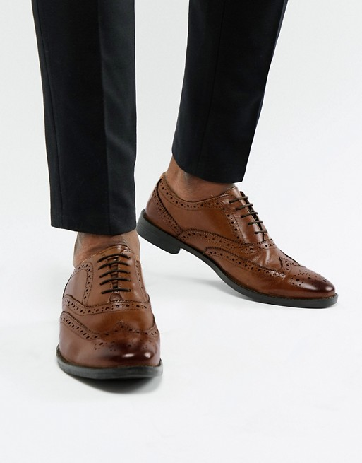 ASOS DESIGN oxford brogue shoes in tan leather   AS