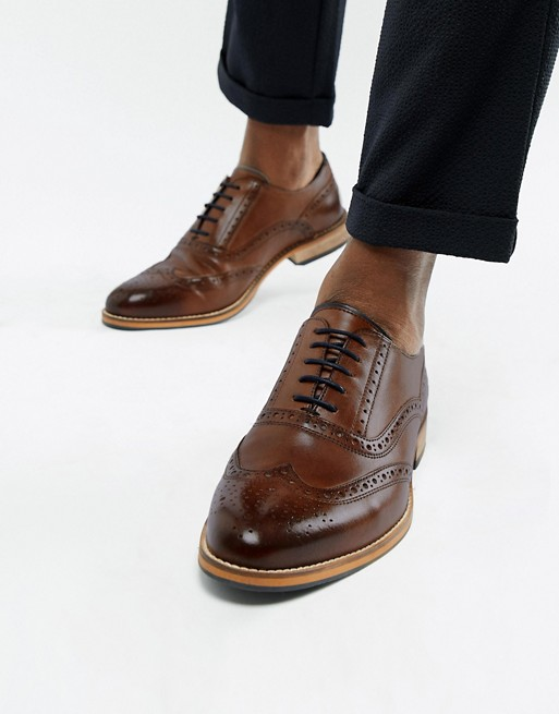 ASOS DESIGN brogue shoes in brown leather with natural sole and .