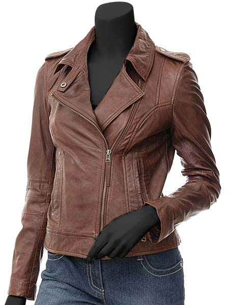 Peggy Biker Jacket Women | Brown Leather Jack