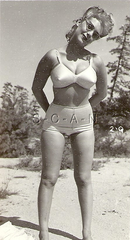 Org Vintage 1940s-60s Semi Nude RP- Blond- Sunglasses- Bullet Bra .