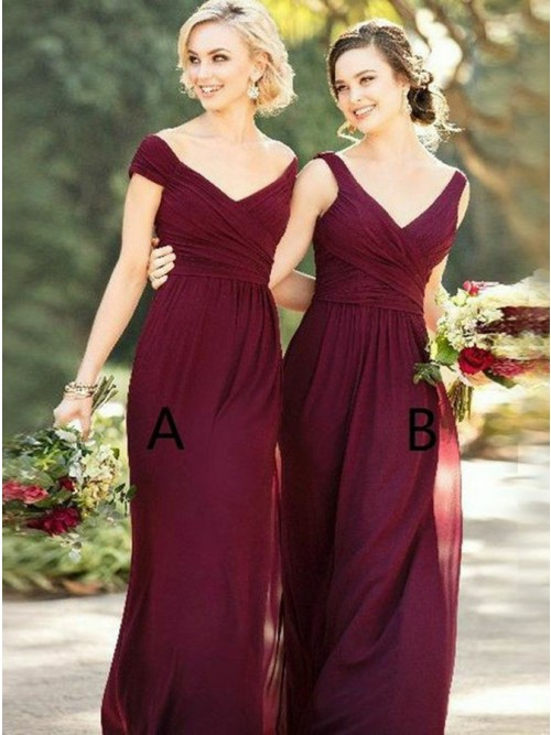 Sheath Off-the-Shoulder Floor-Length Burgundy Bridesmaid Dress .