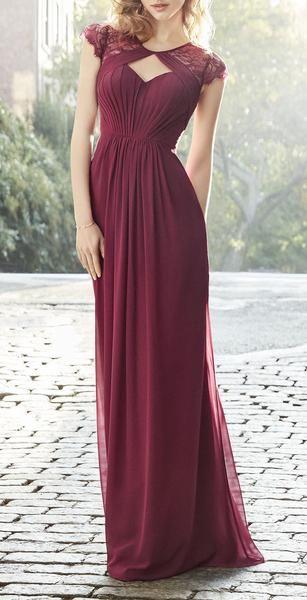Cap Sleeves Lace Chiffon Long Bridesmaid Dress Burgundy Formal .