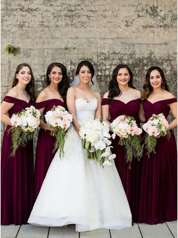 Buy Elegant A-Line Off-the-Shoulder Long Burgundy Bridesmaid Dress .