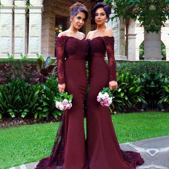 Burgundy Bridesmaid Dress Burgundy Lace Long Sleeves | Et