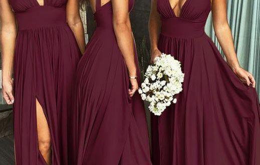 cheap chiffon burgundy Bridesmaid Dresses v-neck Long Bridesmaid .