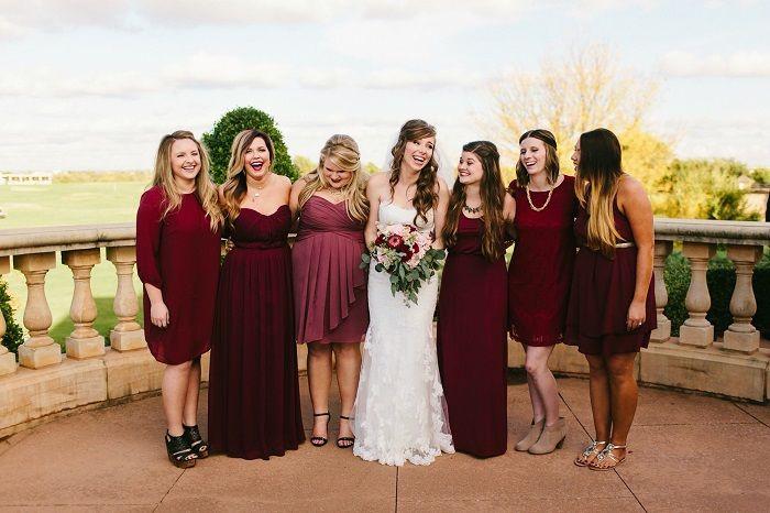Burgundy bridesmaid dresses make your fall wedding stand o