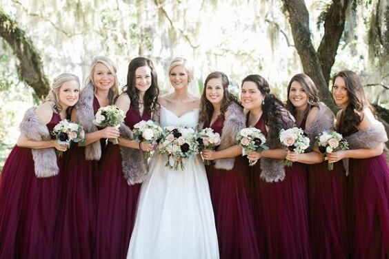 Burgundy and Blush Winter Wedding, Burgundy Bridesmaid Dresses .