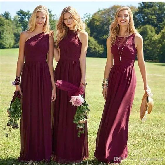 Burgundy Bridesmaid Dresses 2017 New Floor Length Mixed Styles .