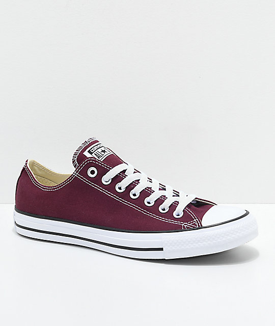 Converse Chuck Taylor All Star Ox Maroon & White Shoes | Zumi
