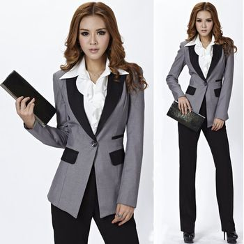 High Quality Novelty Pant Suits Gray Blazers for Women Business .