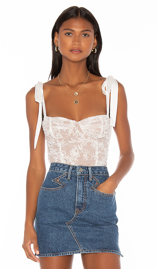 For Love & Lemons Dolly Bustier Top in White Lace   REVOL
