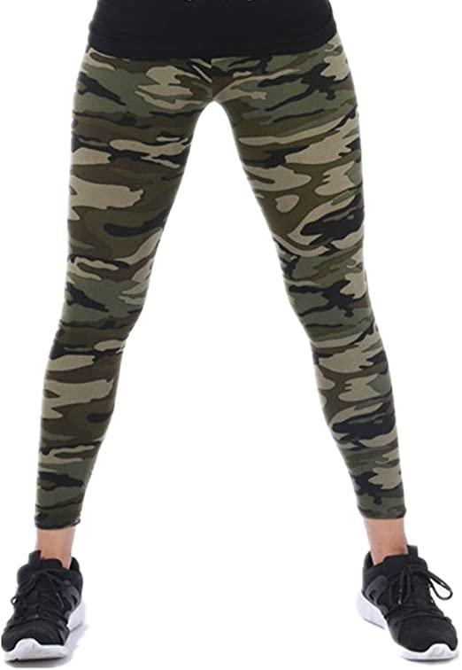 Tamskyt Womens Ultra Soft High Waist Printed Camo Leggings (Army .